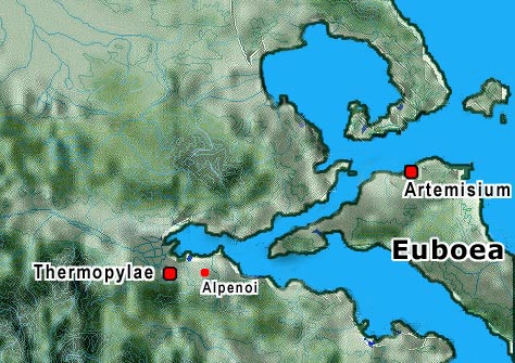 Map of Thermopylae and Artemisium area