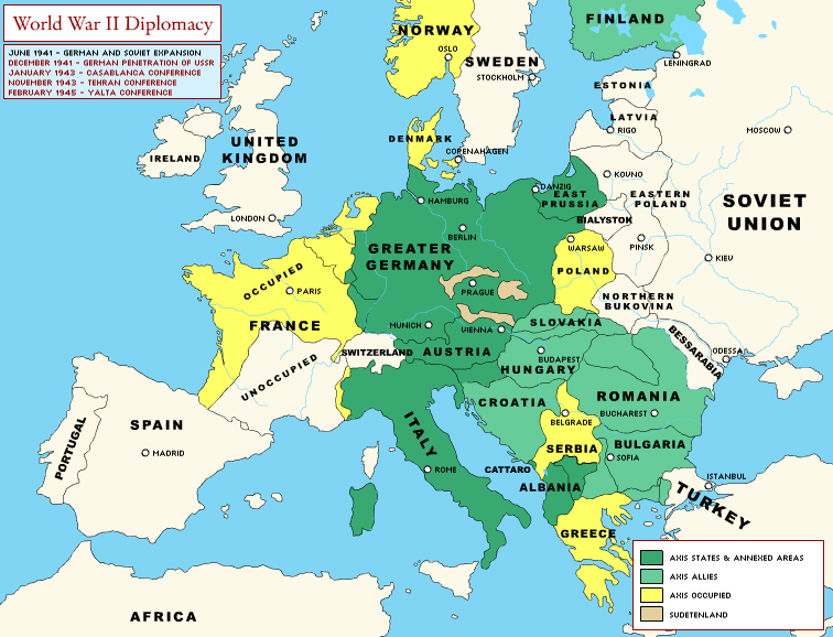 ww2 map of europe World War II Diplomacy: Europe through the Course of the War | NEH