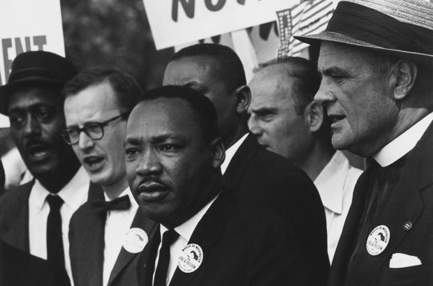Civil Rights March on Washington, D.C. (Dr. Martin Luther King, Jr. and Mathew Ahmann in a crowd.)