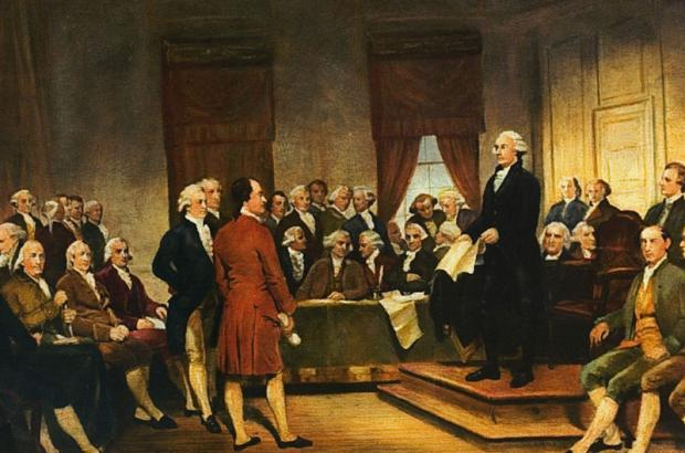 Washington at Constitutional Convention of 1787, signing of U.S. Constitution.