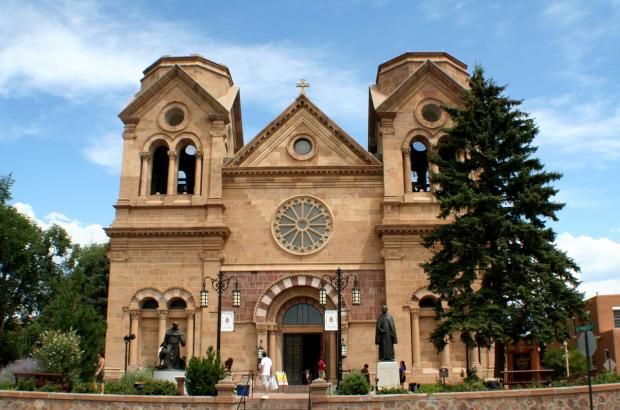Facade of the Cathedral of St. Francis in Santa Fe, New Mexico