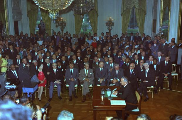 President Lyndon Johnson addresses the nation before signing the Civil Rights Act of 1964.