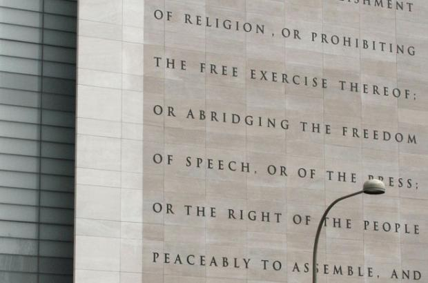 The Newseum's five freedoms guaranteed by the First Amendment to the US Constitution.