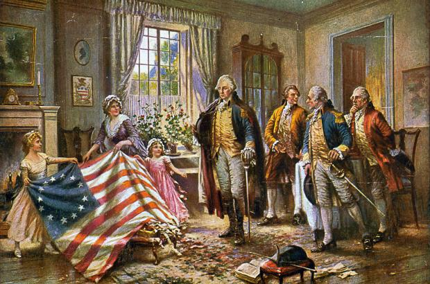 Painting depicting the story of Betsy Ross presenting the first American flag to General George Washington, by Edward Percy Moran, c. 1917.