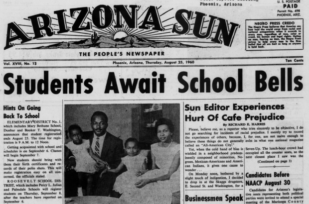 Front page of the Arizona Sun, Phoenix, Arizona, August 25, 1960.