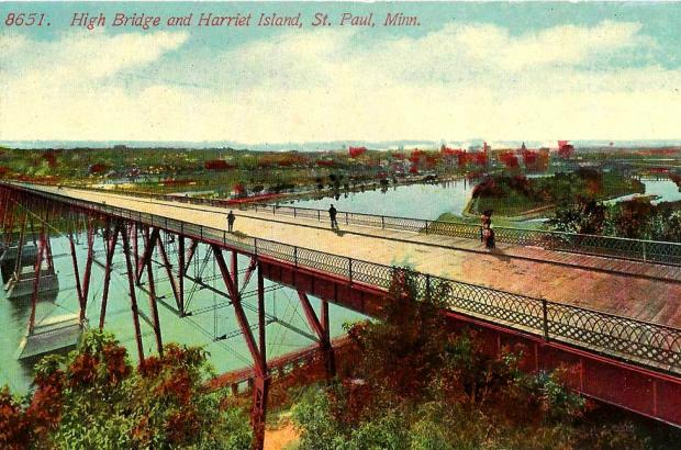 Vintage Saint Paul Minnesota Postcard, The High Bridge And Harriet Island, Printed In USA, circa 1910s.