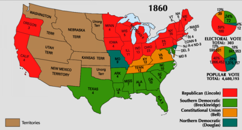 Map of the Electoral College results for the 1860 Presidential Election
