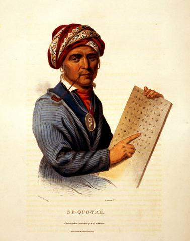 Sequoyah, inventor of the Cherokee syllabary, 1836.