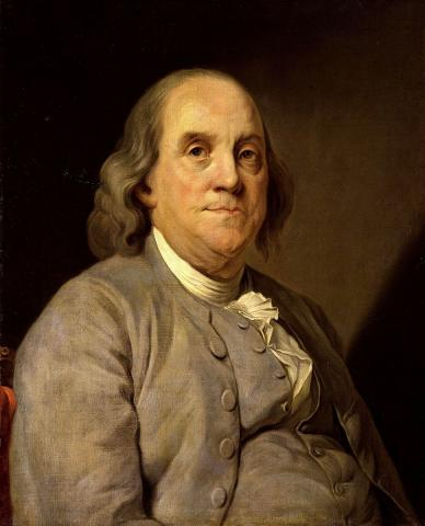 Portrait of Benjamin Franklin by Joseph Duplessis (1778).