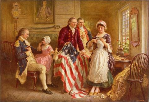 Painting entitled Betsy Ross, 1777 by Jean Leon Gerome Ferris (c. 1932).