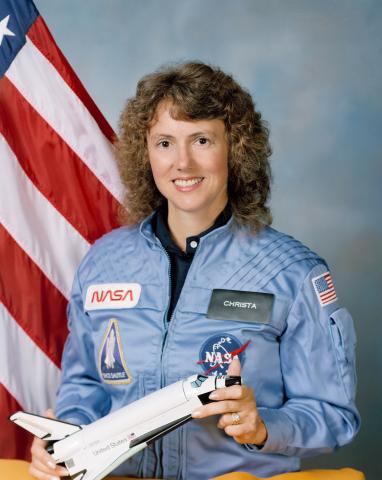 Photograph of Christa McAuliffe in 1985.