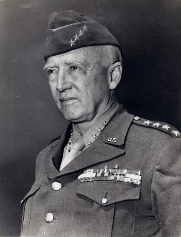 Photograph of General George Patton wearing his 4-star service cap in 1945.