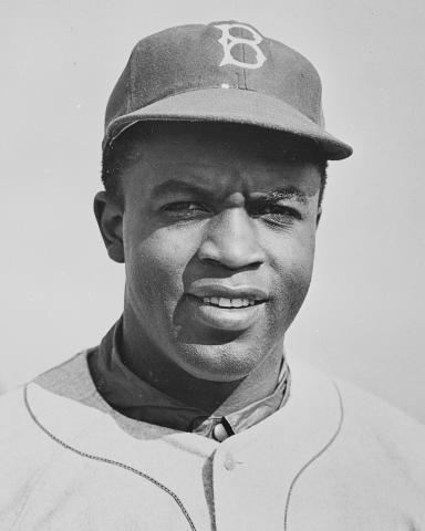 Photograph of Jackie Robinson in 1950.