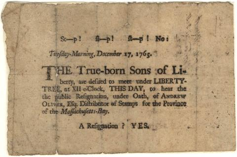 A Sons of Liberty broadside published on December 17, 1765.