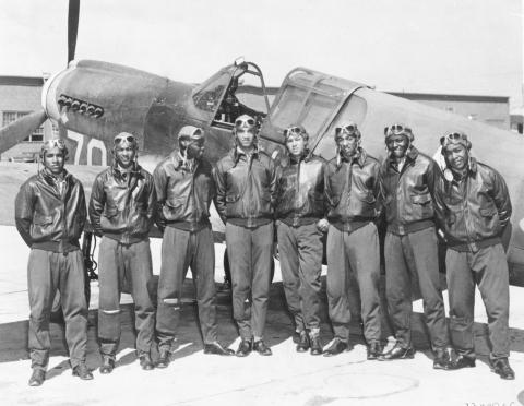 Photograph of Tuskegee Airmen, circa May 1942 to August 1943.