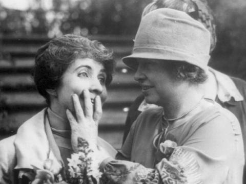 Helen Keller reading Mrs. Coolidge's lips