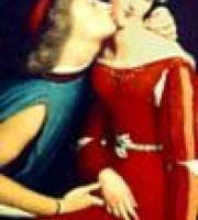 Paolo, in a blue doublet and red cap, kisses Francesca, wearing a red dress with long sleeves, on the cheek