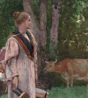 Winslow Homer, The Milk Maid, 1878 (detail). A study in complementary colors.