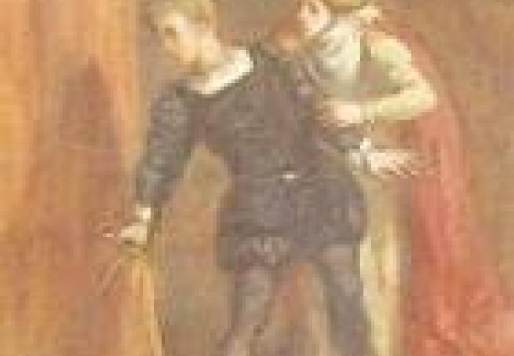 Hamlet, in a blue doublet, grabs a hanging curtain while his mother stands behind him, holding his arm