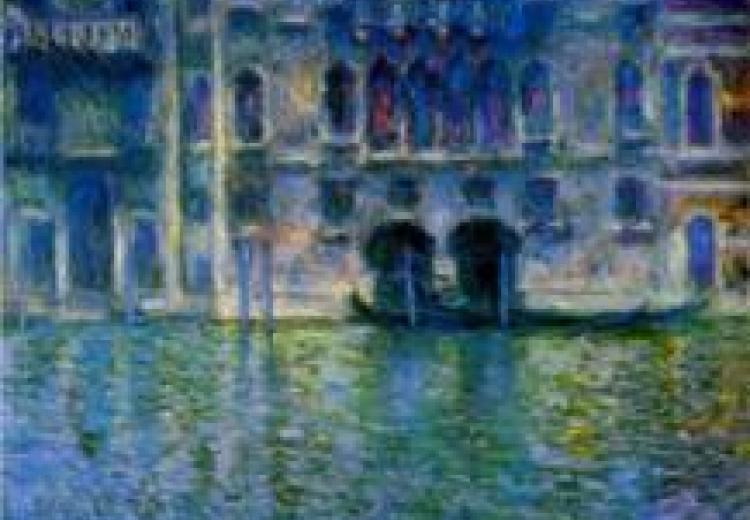 view of the palazzo from across a venice canal, done in tones of blue, yellow, green and white, in the impressionist style