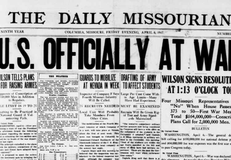 """Daily Missourian"" headline from 1917"