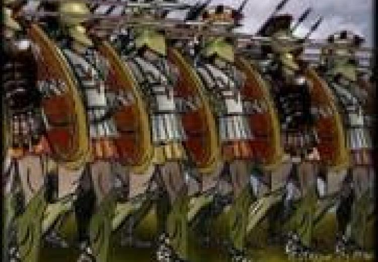 a phalanx of greek soldiers in full armor, holding spears, wearing feathered helmets