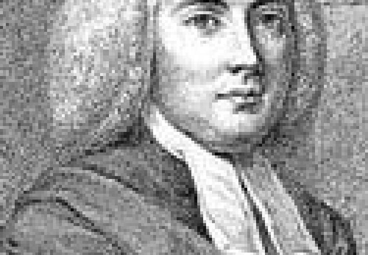 Mayhew, in a white wig and white collar, with a robe wrapped around his shoulders