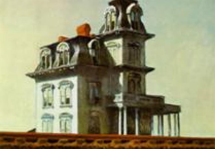 Painting by Edward Hopper depicting a tall, white house.
