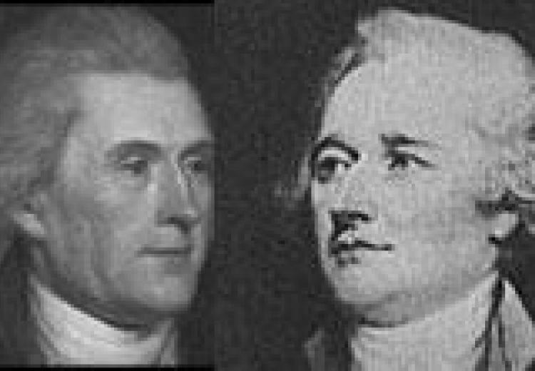 portraits: jefferson on the left and hamilton on the right