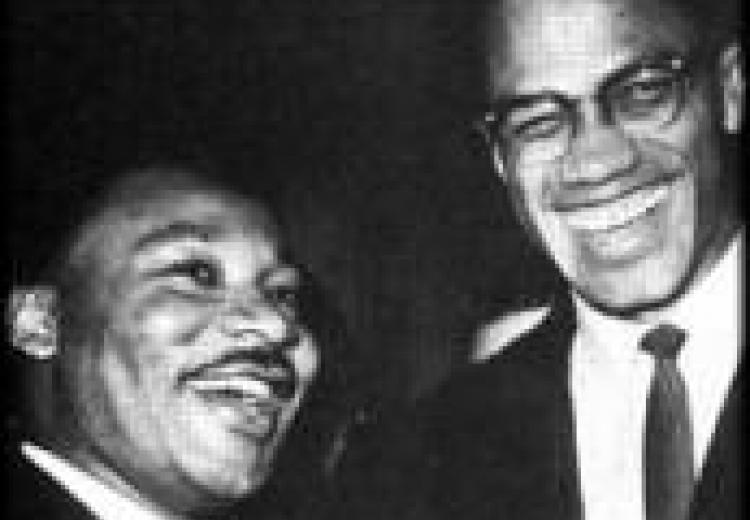 MLK Jr and Malcolm X sharing a laugh
