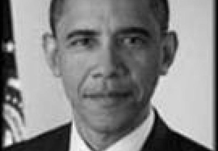 Black and white photo portrait of U.S. President Barack Obama.