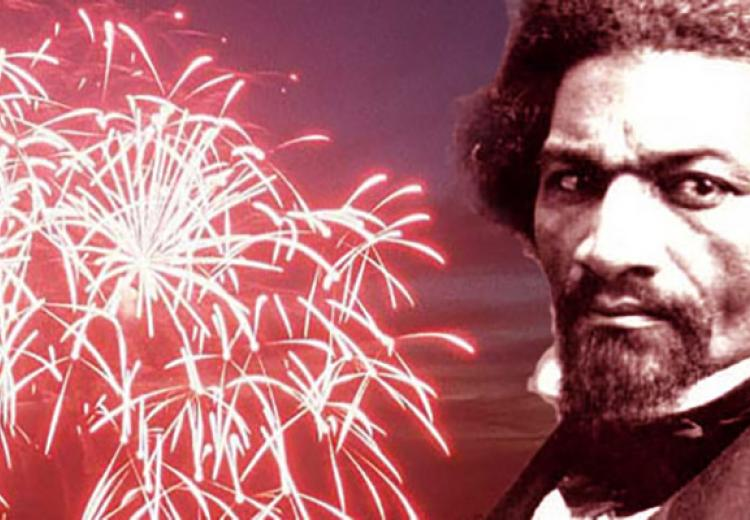Portrait of Frederick Douglass against fireworks background