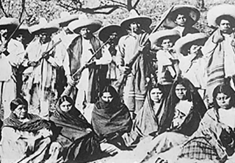 Mexican Revolution collage -- detail. Men and women rebels.