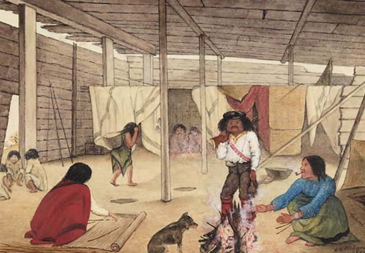 Interior of a Salish Longhouse, British Columbia, 1864. Watercolour by Edward M. Richardson (1810-1874).