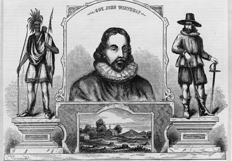 Portrait of Gov. John Winthrop, flanked by statues of a Native American (left) and a pilgrim.