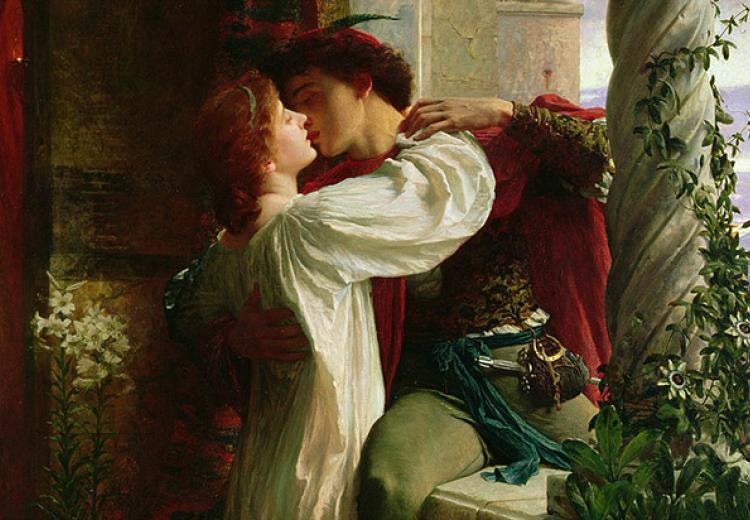 Juliet, with long red hair and in a white dress, holds Romeo in a close embrace while they kiss. Frank Bernard Dicksee in 1884