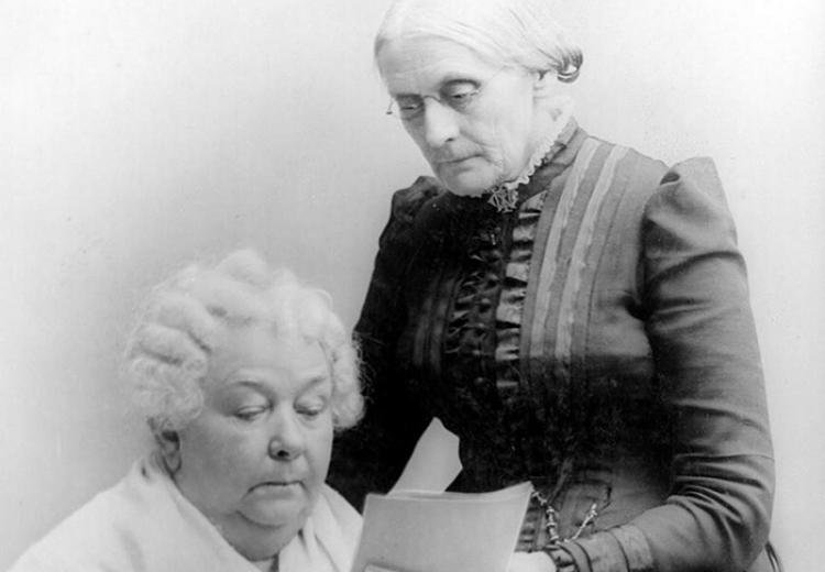 Portrait of Elizabeth Cady Stanton (seated) and Susan B. Anthony.