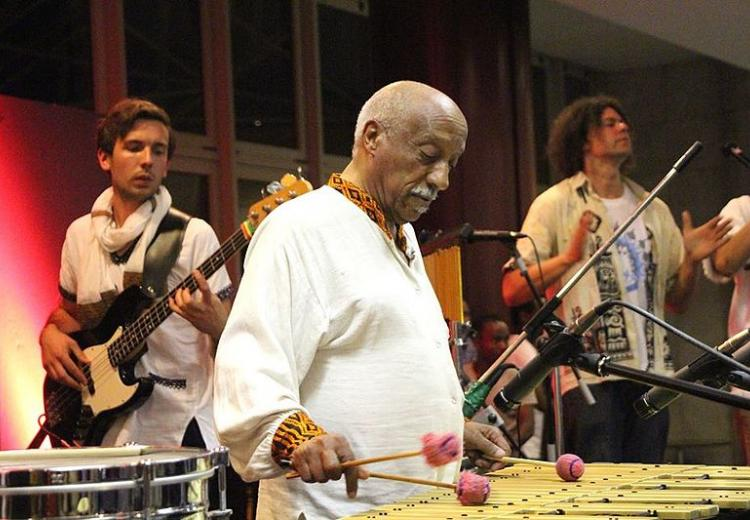 Mulatu Astatke performing at the 50th Anniversary of Australian and Ethiopian diplomatic relations event 2015.