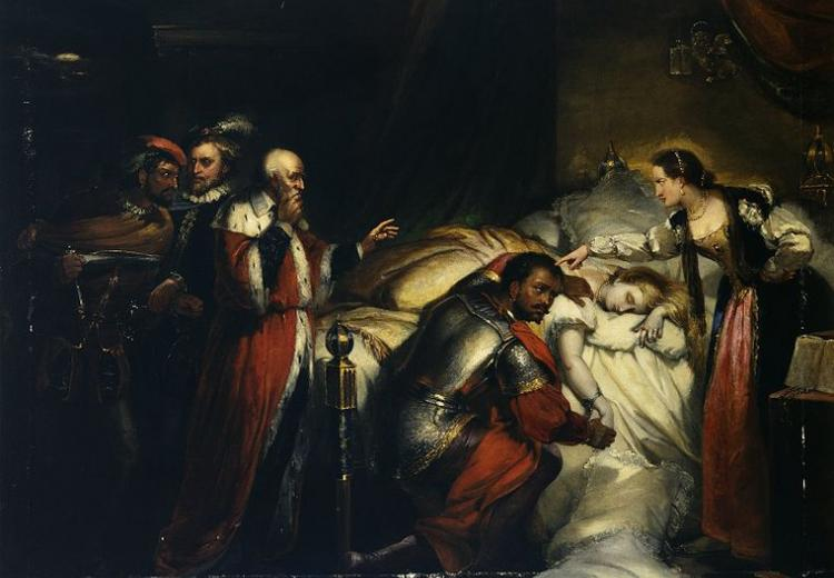 Painting of Othello weeping over Desdemona's body. Oil on canvas, ca. 1857.