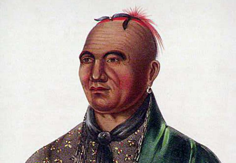 "Joseph Brant or Thayendanegea, Mohawk chief, led four of the ""Six Nations"" against the American rebels."