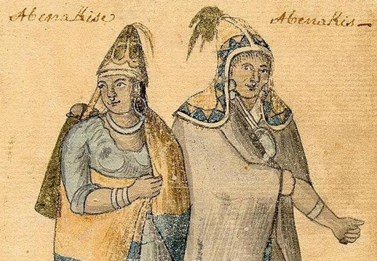 Abenaki Couple, an 18th-century watercolor by an unknown artist