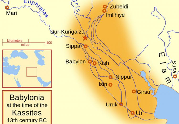 A map of the Babylonian Empire during the time of the Kassites, roughly the 13th century BC.