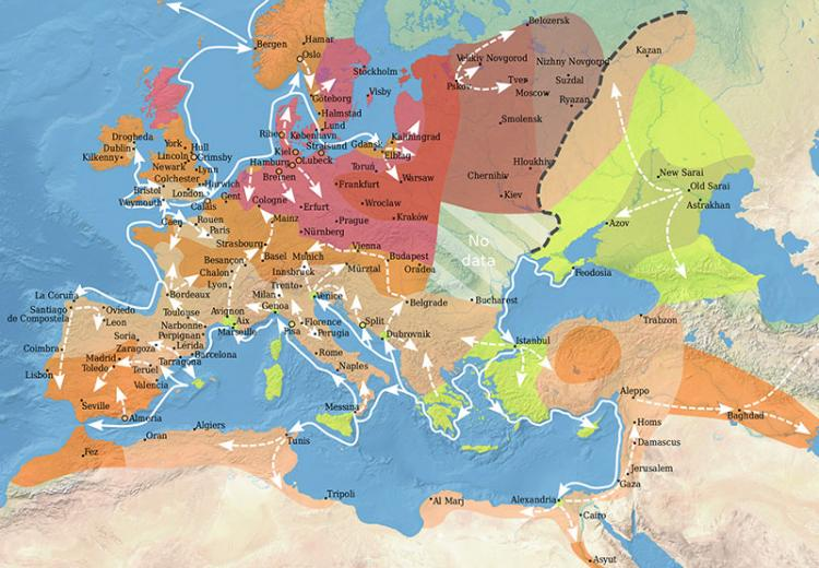 Map showing the spread of the Black Death in Europe between 1346 and 1353.