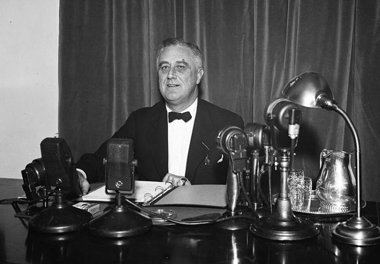 Franklin D. Roosevelt having a fireside chat in Washington, D.C, 1937.