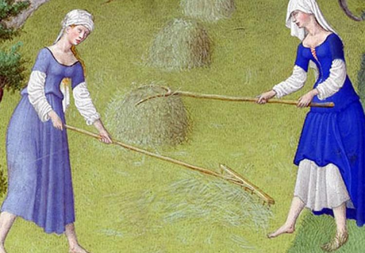 Detail from the Calendar page for June, the Book of Hours; ( Les Tres  Riches Heures du Duc de Berry)