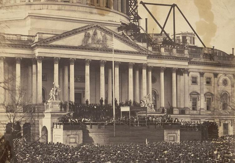 Photo of Lincoln's inauguration, March 4, 1861. The nation was on the brink of war.