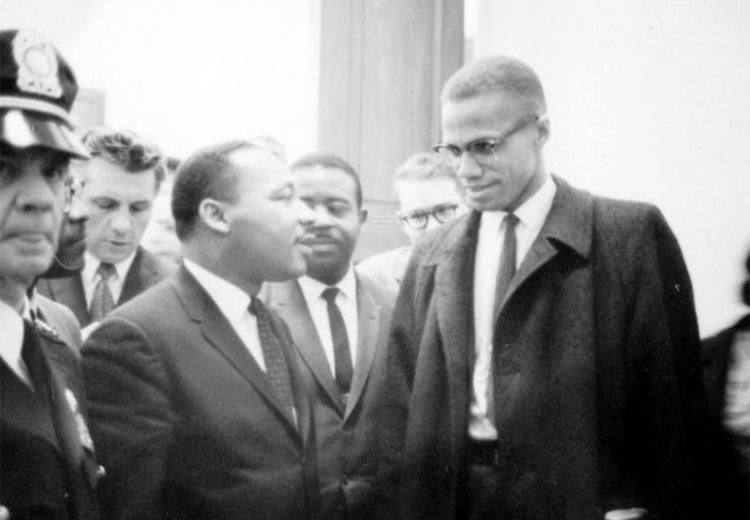 Martin Luther King and Malcolm X waiting for press conference, March 26, 1964.