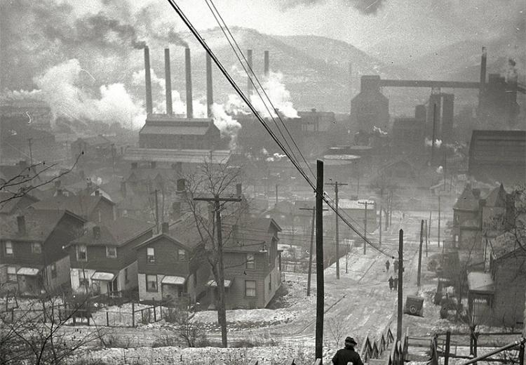 Steel mills in the Hazelwood neighborhood of Pittsburgh, Pennsylvania.