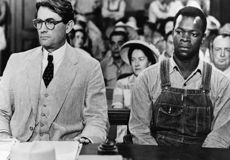 Promotional still from the film To Kill a Mockingbird (1962) with Gregory Peck and Brock Peters.