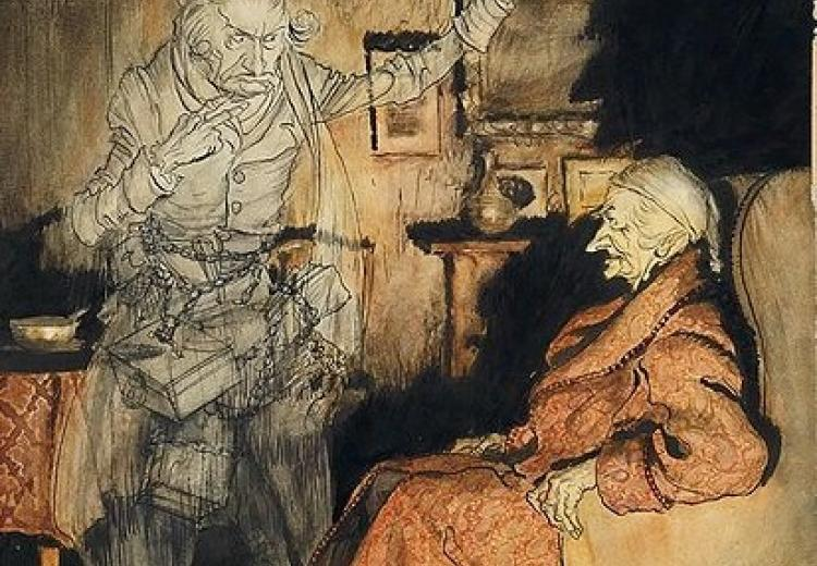 Scrooge and the Ghost of Marley by Arthur Rackham (1915).